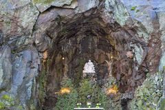 The Grotto of Our Sorrowful Mother. Our Lady`s Grotto of the National Sanctuary of Our Sorrowful Mother Catholic Shrine in Portland Oregon Royalty Free Stock Photos