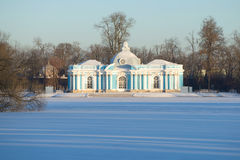 The Grotto pavilion in Catherine Park of Tsarskoye Selo in the frosty November afternoon Stock Photos