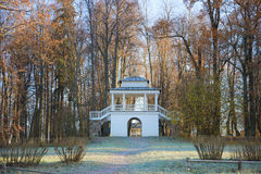 The Grotto pavilion in the first October frost. Manor Petrovsky family manor of ancestors of the russian poet A. S. Pushkin. Psk Stock Photography
