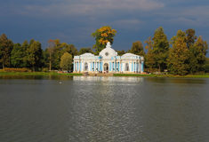 Grotto pavilion on the Great Pond. Russia, Tsarsko Stock Photo