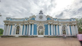 Grotto Pavilion timelapse hyperlapse in Catherine Park at Tsarskoye Selo Pushkin , St. Petersburg, Russia. Grotto Pavilion timelapse hyperlapse in Catherine Park stock video footage
