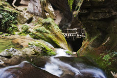 Grotto and river. A scenic Italian grotto and its river falling down Stock Photography
