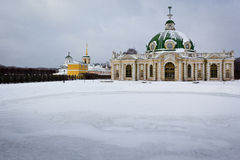 The Grotto in Winter, Kuskovo, Moscow Stock Photography