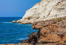 The grottoes of Rosh Ha Nikra. Geological phenomenon in the north of Israel, on the border with Lebanon. Rocks of white limestone form caves on the shores of Royalty Free Stock Image