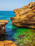 The grottoes of Rosh Ha Nikra. On the Mediterranean coast. Geological phenomenon in the north of Israel, on the border with Lebanon. Rocks of limestone form Royalty Free Stock Images