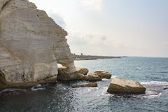 Grottoes in Rosh HaNikra in Israel. Rosh Hanikra Tourist Site in Israel royalty free stock photography