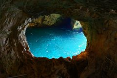 Grottoes in Rosh Hanikra on the Mediterranean coast Royalty Free Stock Photos