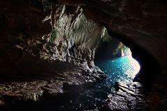 Grottoes in Rosh Hanikra on the Mediterranean coast Stock Photos