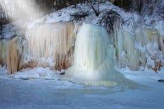 Grottor för apostelöis, vinter, lopp Wisconsin arkivbild
