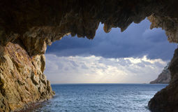 Grottos at coast Royalty Free Stock Images