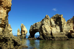 Grottos in Lagos. South of Portugal royalty free stock photo