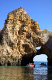 Grottos in Lagos. South of Portugal stock photo