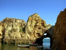 Grottos.Lagos III. Rocky zone called Tip the very interesting Mercy for its grottos and point of view on the very interesting sea. In Lagos, Algarve.Portugal stock photos