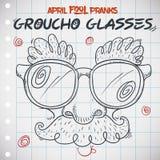Groucho Glasses drôle jour pour April Fools ' dans le style de griffonnage, illustration de vecteur illustration de vecteur