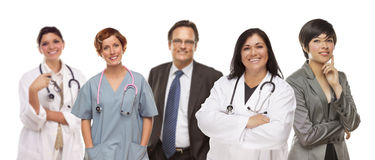 Groud of Medical and Business People on White Stock Photography