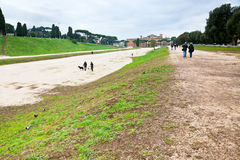 Ground of ancient Circus Maximus in Rome Stock Photos