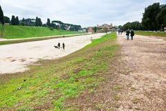 Ground of ancient Circus Maximus in Rome Stock Photos
