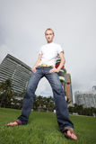 Ground angle image of a man in Miami Stock Image