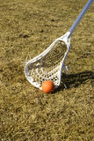 Ground ball. A white lacrosse stick scooping the ball off the ground Stock Images