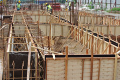 Ground beam form work at the construction site Royalty Free Stock Photography