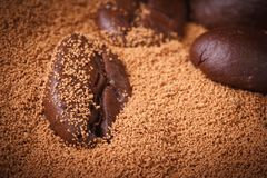 Ground and beans closeup coffee Royalty Free Stock Photography
