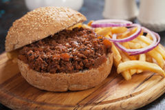 Ground beef burger sandwich Royalty Free Stock Photography