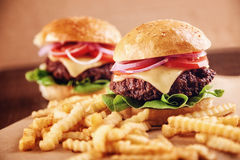 Ground beef Cheese Burger with French Fries Stock Image