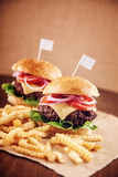 Ground beef Cheese Burger with French Fries. Ground beef Cheese Burger with Lettuce,Tomato and Red Onion with French Fries Royalty Free Stock Photography