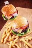 Ground beef Cheese Burger with French Fries. Ground beef Cheese Burger with Lettuce,Tomato and Red Onion with French Fries Stock Image