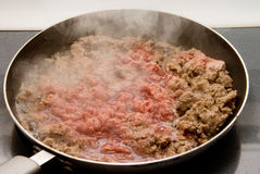 Ground Beef in Frying Pan Royalty Free Stock Photos