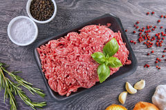 Ground beef. Lean ground beef in black styrofoam meal box, top view royalty free stock image