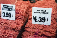 Ground Beef in Market. Fresh ground sirlion & ground chuck at farmers market Royalty Free Stock Image