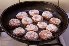Ground Beef Meatballs in a Black Pan royalty free stock photography
