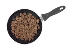 Ground Beef In Pan Cooked Top View Stock Image