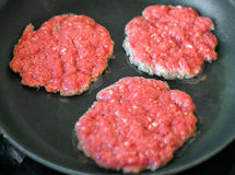 Ground beef patties. Royalty Free Stock Photo