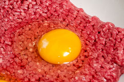 Ground beef with raw egg Stock Photo