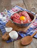 Ground beef ready for meat ball or meat loaf. Selective focus stock photo