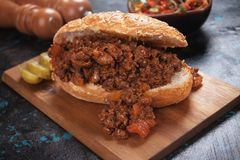 Ground beef sandwich Royalty Free Stock Images