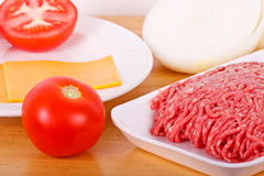 Ground Beef Tomatos Onions and Cheese Royalty Free Stock Photography