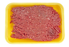 Ground Beef in Tray. 90% lean ground beef  in a styrofoam tray (14MP camera,isolated Royalty Free Stock Images