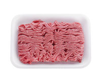 Ground Beef in a White  Tray Royalty Free Stock Photos