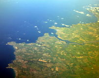 The Ground Below of South West England. A View from a plane. The South West of England Royalty Free Stock Photos