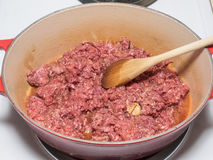 Ground bison meat Stock Images