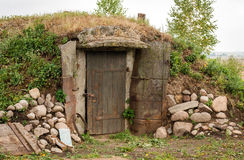 Ground cellar with wooden door Royalty Free Stock Photography