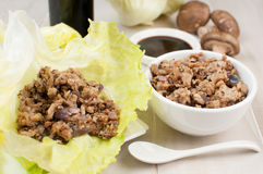Ground chicken and mushrooms for lettuce wraps Royalty Free Stock Photos