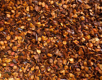 Ground chili. Closeup of red hot ground chili as background Stock Image