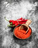 Ground chili peppers in a bowl. Royalty Free Stock Photography