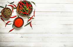Ground chili peppers in a bowl. Royalty Free Stock Image
