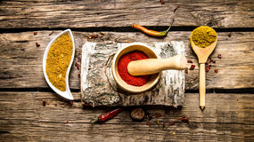 Ground chilli in a mortar with birch stand. Royalty Free Stock Image