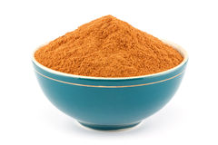 Ground cinnamon in bowl Royalty Free Stock Image